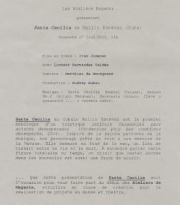 Santa Cecilia, flyer 12 juin 2012